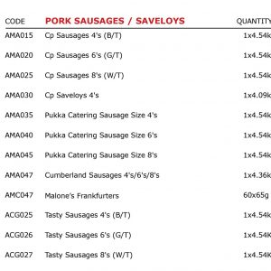 Pork Sausages, Saveloys